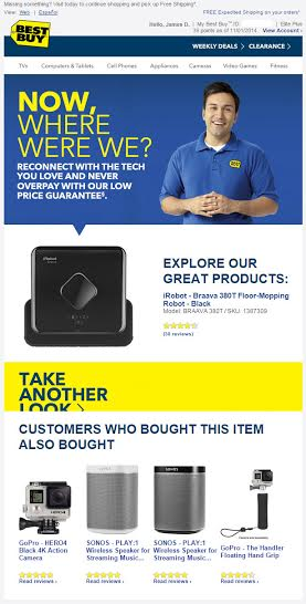 Best Buy Abandoned Basket Email Example