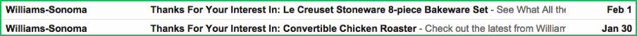 Inbox Example, Abandoned Basket Subject Lines
